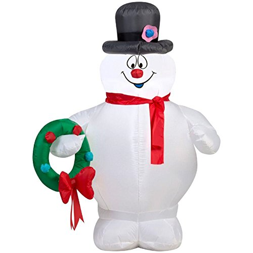 3.5 Ft  Lighted Inflatable Frosty Holding Wreath Air Blown Inflatable (Air Blown Inflatables)