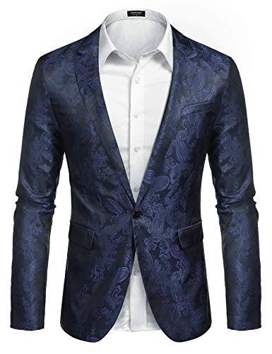 JINIDU Men's Floral Tuxedo Jacket Paisley Embroidered Suit Blazer Jacket for Dinner,Party,Wedding,Prom Navy Blue