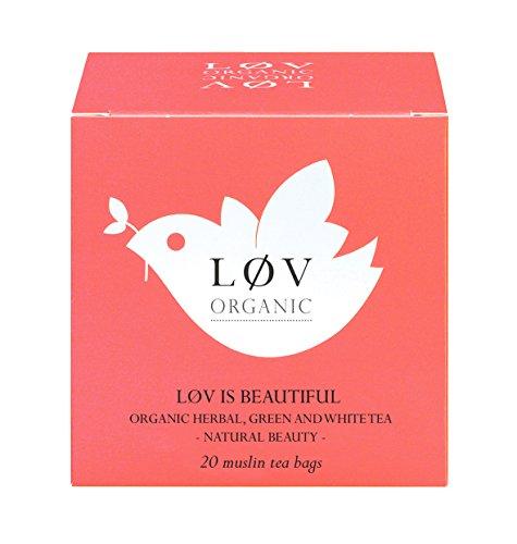 Løv Organic Løv is Beautiful Tea - Green Rooibos, Mango, Pineapple, Rice Flour, Papaya, Apricot, White Tea and Green Tea Natural Fruit Flavors (20 Muslin Tea Bags 20 Servings)