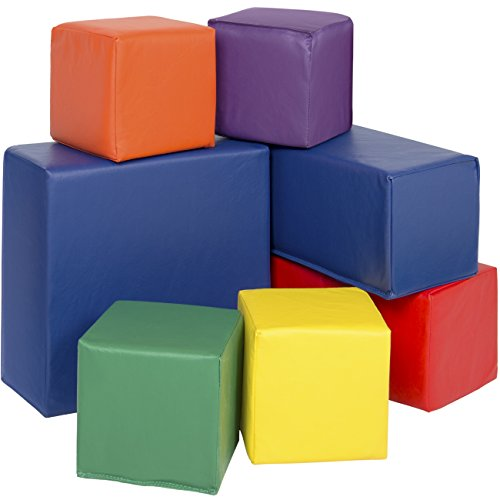 Best Choice Products 7-Piece Kids Soft Foam Block Play Set, Large Stacking Cubes for Sensory Development and Motor Skills - Multicolor