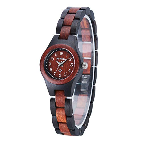 Bewell Ladies Wooden Dress Watch, Black and Red Small Lightweight Bracelet Analog Quartz Round Wristwatches for Women