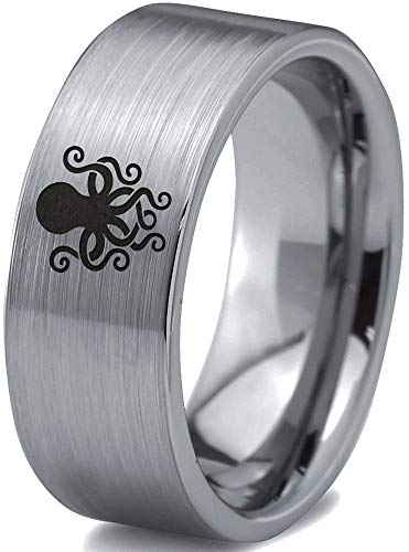 Zealot Jewelry Tungsten Octopus Squid Sea Creature Band Ring 8mm Men Women Comfort Fit Gray Flat Cut Brushed Polished Size 10