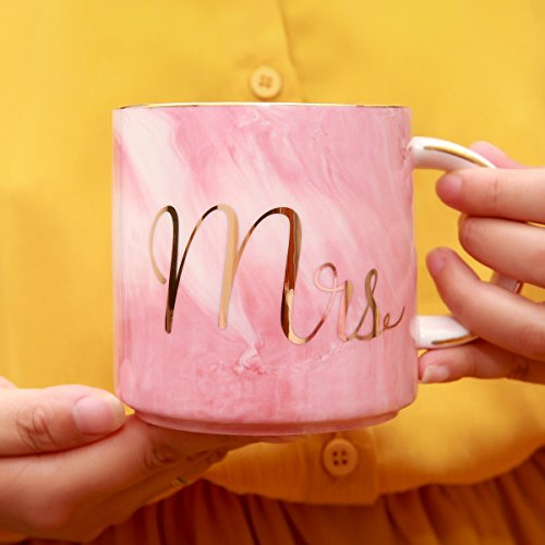 Luspan Mr and Mrs Couples Coffee Mugs - Unique Wedding Gift for Bride and Groom - Gift for Bridal Shower Engagement Wedding and Married Couples - Ceramic Marble Cups 13 oz(Grey and Pink) by Luspan (Image #4)