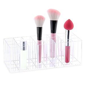 FLYMEI Dust Free Acrylic Lip Gloss Lipstick Holder Case, Premium Beauty Care Holder Makeup Brush Organizer Cosmetic Organizer (Provides 24 Space Storage)