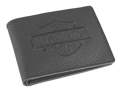 Harley Davidson Embroidered Leather Billfold XML2946 BLACK
