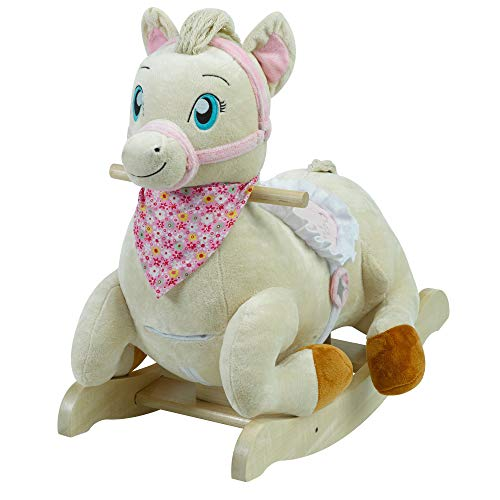 Princess Pony Rocker | Horse Plush Butterfly Baby Toy with Wooden Rocking Chiar Horse/Kid Rocking Toy/Baby Rocking Horse/Rocker/Animal Ride