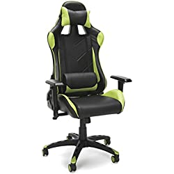 Essentials Racing Style Leather Gaming Chair - Ergonomic Swivel Computer, Office or Gaming Chair, Red (ESS-6066-GRN)