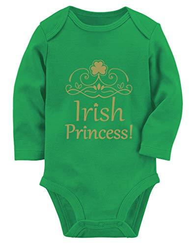 Tstars St. Patrick's Day Irish Princess Gift for Baby Girl Baby Long Sleeve Bodysuit NB (0-3M) -