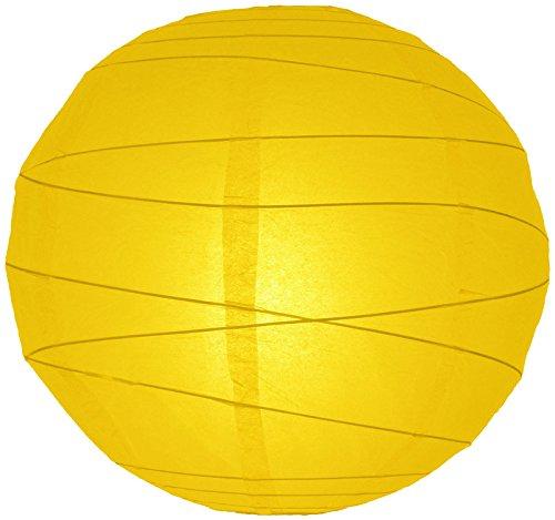 "UPC 712395863749, Quasimoon 10"" Yellow Irregular Ribbed Paper Lantern (10 PACK) by PaperLanternStore"