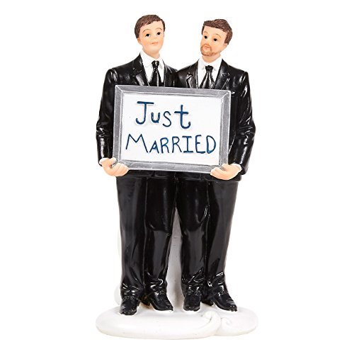 Wedding Cake Topper - Gay Pair Figurines Holding Just Married Board - Fun Wedding Couple Figures for Decorations and Gifts -3.25 x 6.25 x 3 Inches