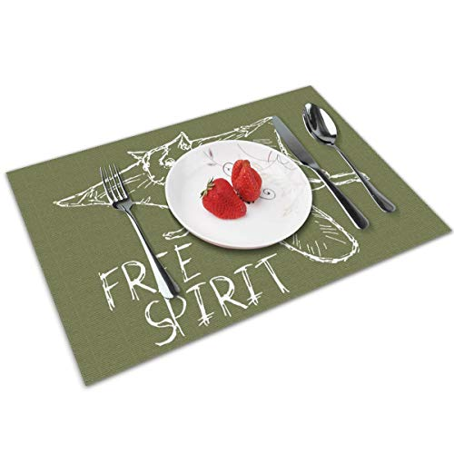 Candy Ran Flying Squirrel Indoor/Outdoor Placemats/Place Mats/Table Mats Set of 4, Kitchen Tablemats for Dining Table, Non-Slip Washable Heat Resistant -