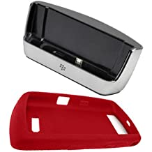 RIM BlackBerry Charging Pod (ASY-14396-008) and Red OEM Silicone protective case for BlackBerry Storm, Thunder, 9500, 9530 (HDW-18971-005)