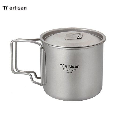 Ti artisan Ultra Light Titanium Mugs Titanium Coffee Cup 350ml with Lid