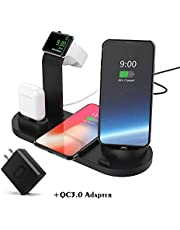 Wireless Charger DoSHIn 4 in 1 Wireless Charger Stand 10W/7.5W Fast Wireless Charging Docking Station Compatible with Apple Watch Series 5/4/3/2/1;iPhone 11/X/XS/XS Max/XR,Samsung Galaxy S10,Airpods