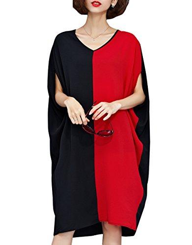 ELLAZHU Women Batwing Sleeve Patchwork Colorblock Chiffon Baggy Dress GA854 Red