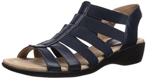 LifeStride Women's Toni Flat Sandal, Navy, 9 M US