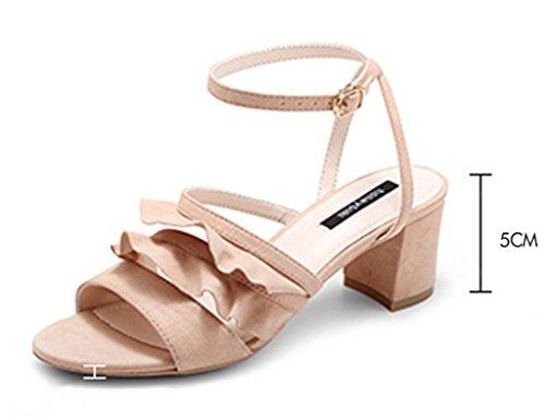 Strap Schuhe ZCJB Ferse Damenschuhe Mode Wort Rosa Schwarz Band Starke Sandalen High 34 Schuhe Farbe Größe Sommer Heels w81nA