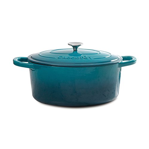 Enameled Cookware Iron (Crock Pot 109470.02 Artisan Enameled Cast Iron 5-Quart Round Dutch Oven, Teal Ombre)