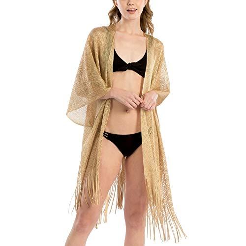 by you Women Fashion Summer Beach Metallic Net Bikini Shawl Cover Up Kimono Cardigan (Metallic Net Shawl - ()