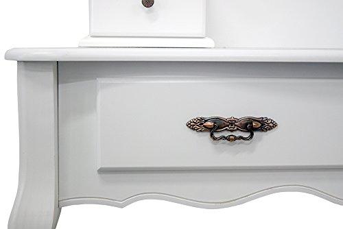 Mobili rebecca tavolo trucco toeletta specchiera legno bianco