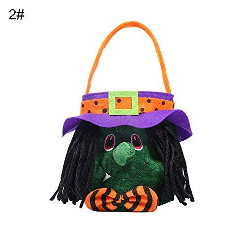 discountstore145 Halloween Candy Bag,Halloween Create The Ambience Props Trick or Treat Pumpkin Witch Vampire Handheld Candy Bag Handbag Decor for Halloween Eve Decor Home Decoration 2#