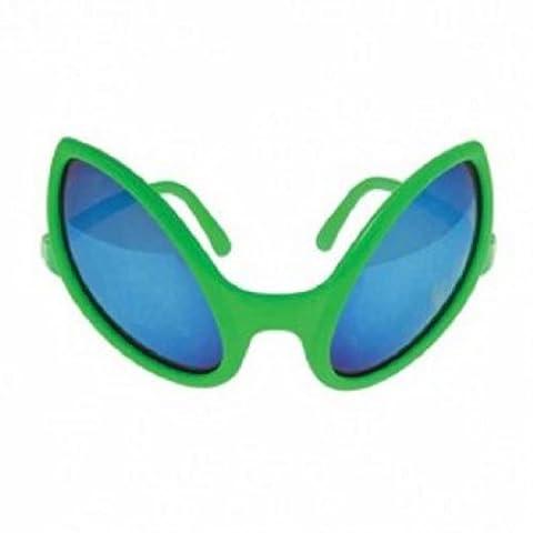 Dozen Adult Size Green Alien Eyes Smoke Black Lens Sunglasses