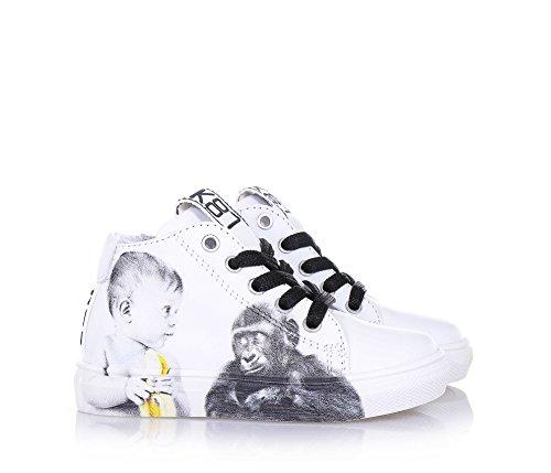 BE KOOL - Weißer Schuh Monkey Baby mit Schnürsenkeln aus Leder, von der Welt der Street Art inspiriert, seitlich ein Reißverschluss, Unisex Kinder