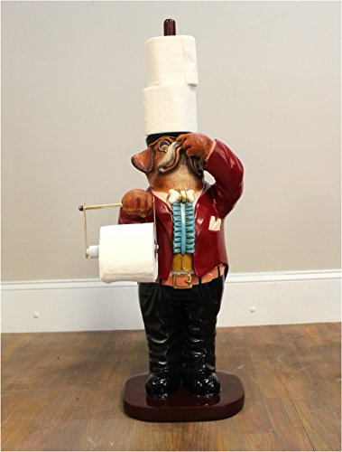 Dog Butler Toilet Paper Holder holding his