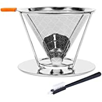 Pour Over Coffee Filter, Reusable Stainless Steel Coffee Filter Cone Dripper with Removable Cup Stand and Bonus Brush(2nd Generation)