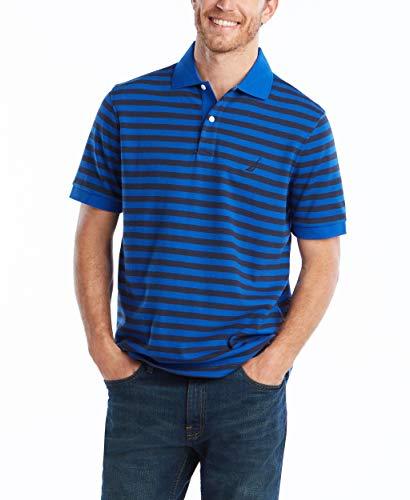 Nautica Men's Classic Fit 100% Cotton Soft Short Sleeve Stripe Polo Shirt, Bright Cobalt, Large