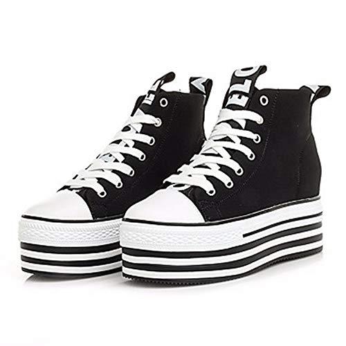 De Zapatos Plataforma Primavera Media Negro Blanco US6 Verano Black Deporte UK4 Confort Mujer Dedo Redondo Zapatillas Tela TTSHOES CN36 EU36 w0Fvzqtxz5