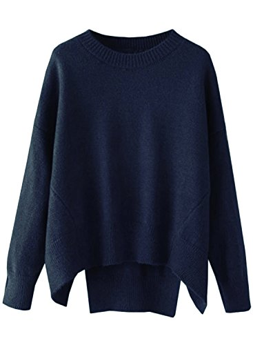futurino Women's Crew Neck Solid Long Drop Sleeves Loose Knit Pullover Sweaters (one Size, Navy)