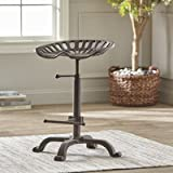 Extra-Large Farmhouse Adjustable Swivel Tractor Seat Bar Stool - Antique Iron