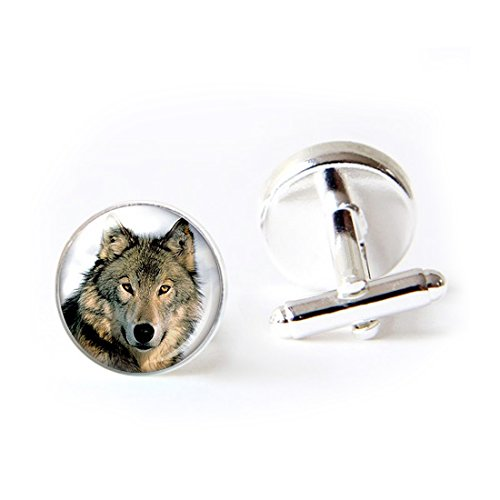 Round Cufflink Set Cool Wolf Couple Wolf Jewelry Loyalty Wolves Cufflinks For Men's Accessories Shirts Business Wedding by LooPoP