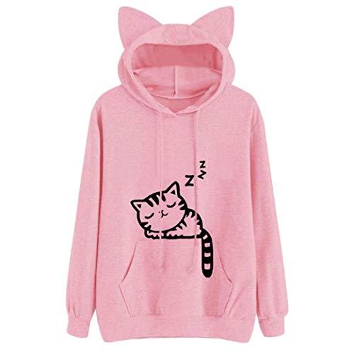 (Cenglings Womens Cat Long Sleeve Hoodie Casual Sweatshirt Hooded Pullover Tops Blouse (XL, Pink))