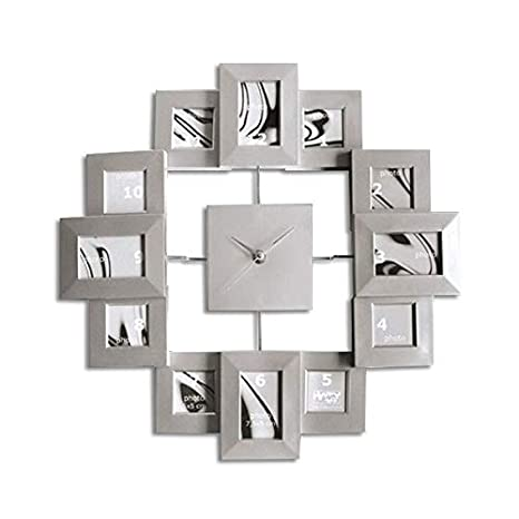 Amazoncom Wall Clock With 12 Silver Picture Frames Home Kitchen