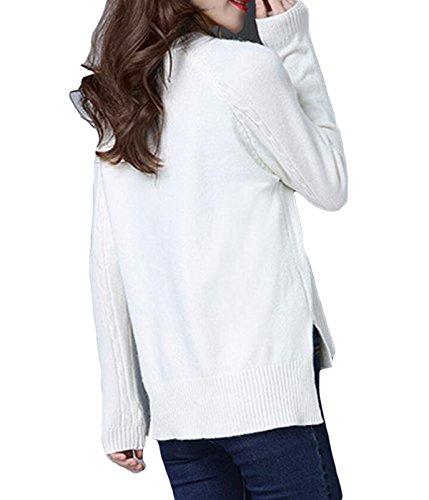 Primavera Mujeres Falsificación Dos De Manga Larga Jersey De Punto Camisa De Cuello Redondo Green