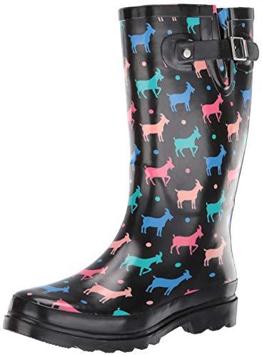 Western Chief Women's Waterproof Printed Tall Rain Boot, Dotty Goats, 6 M -