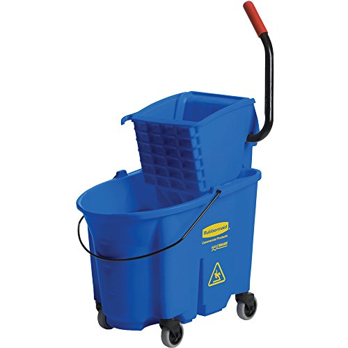 Rubbermaid Commercial WaveBrake Side Press Combo High-Performance Mopping System, 35-Quart Capacity, 20.1-Inch Length x 15.7-Inch Width x 36.5-Inch Height, Blue (FG758888) - Rubbermaid Wavebrake Bucket