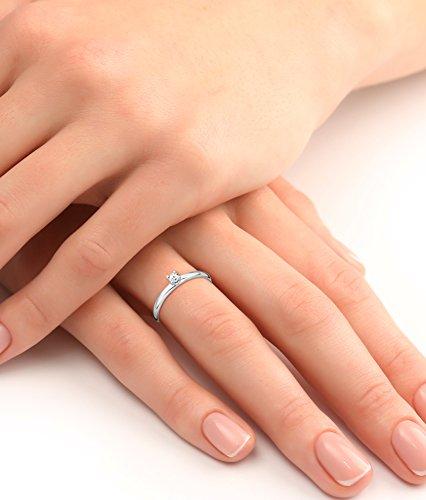 Miore - Bague Solitaire Femme - Or blanc 375/1000 (9 carats) 1.48 gr - Diamant 0.1 cts