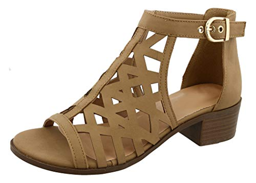 (Prime Sale Best Small Tan Strappy Pretty Sexy Gladiator Sandal with Buckle Caged Peep Toe Block Chunky Block Heel Zapatos de Mujer Christmas Dance Party Dress Shoe for Women Teen)