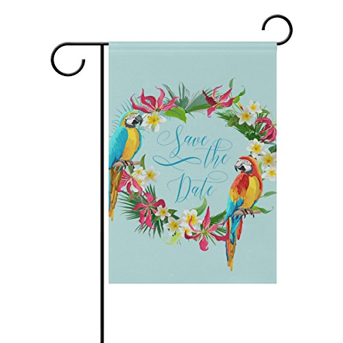 Decorative Flags for Outside Double Sided Welcome Garden Flag with Novelty Graphic Colorful Garland Parrot for Yard Flags Outdoor Flags