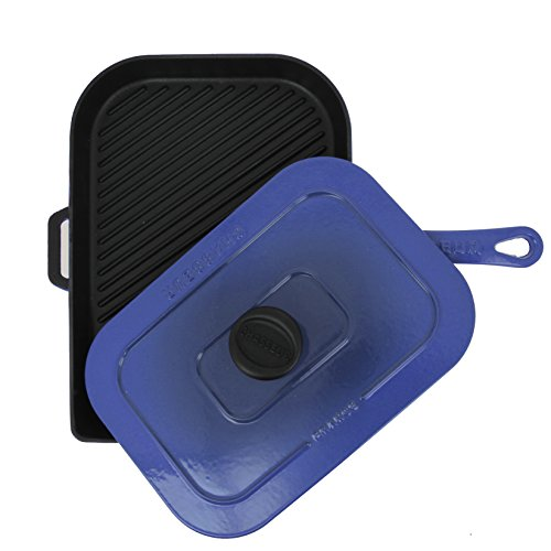 Chasseur 10-inch Blue French Enameled Cast Iron Panini Press by Chasseur