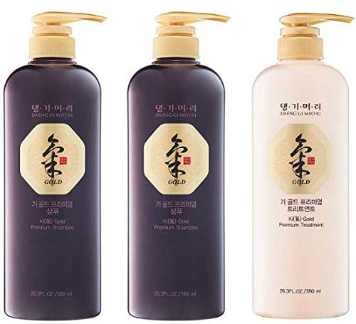 Daeng Gi Meo Ri Ki Gold Premium Special Gift Set 2 Shampoos 1 Treatment Boxed 3-Pack Bundle (Daeng Gi Meo Ri Shampoo)