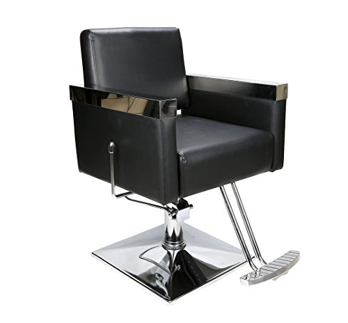 BarberPub Classic Hydraulic Barber Chair Salon Spa Recliner Styling Beauty Chair Equipment 3021, (Chrome Reclining Recliner)