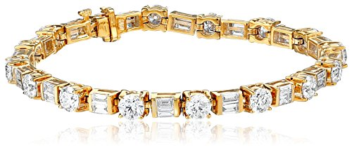 IGI Certified 14k Yellow Gold Baguette and Round-Cut Diamond Tennis Bracelet (10 1/3 cttw, H-I Color, SI1-SI2 Clarity), 7""