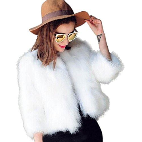 Kstare Women Warm Fashion Faux Fur Soft Fur Coat Jacket Fluffy Winter Waistcoat Outerwear (White, M) (Best Fur Coats In The World)