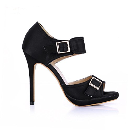 Buckle Silk Toe Best Heels Black Metal Summer 12CM Women's 4U Stiletto Sandals Peep Faux High Shoes qYwYIFf