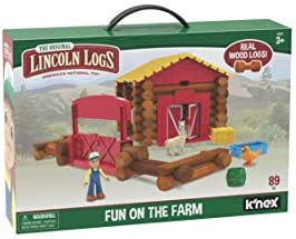 LINCOLN LOGS – Fun On The Farm – 102 Parts – Real Wood Logs – Ages 3+ – Best Retro Building Gift Set for Boys/Girls – Creative Construction Engineering – Top Blocks Game Kit – Preschool Education Toy