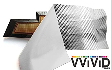 VViViD XPO Silver Carbon Fiber Chevy Bowtie Logo Wrap Kit + Squeegee 6 Rolls 11.8 x 4